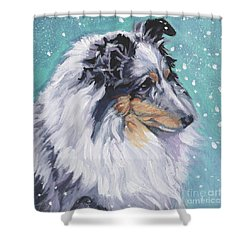 Shower Curtain featuring the painting Shetland Sheepdog by Lee Ann Shepard