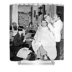 Silent Still: Barber Shop Shower Curtain by Granger