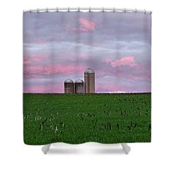 Shower Curtain featuring the photograph 3 Silos by Robert Geary