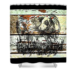 Shower Curtain featuring the drawing Simmental Bull by Larry Campbell
