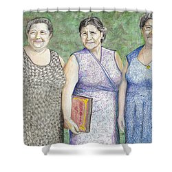 Shower Curtain featuring the drawing 3 Sisters by Albert Puskaric