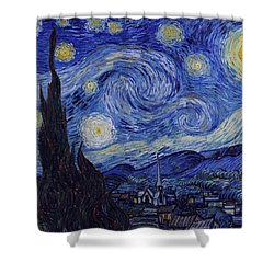 Shower Curtain featuring the painting Starry Night by Van Gogh