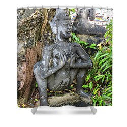 Statue Depicting A Thai Yoga Pose At Wat Pho Temple Shower Curtain