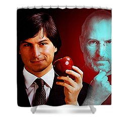Shower Curtain featuring the mixed media Steve Jobs by Marvin Blaine