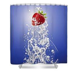 Strawberry Splash Shower Curtain by Marvin Blaine