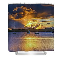 Sunrise Waterscape With Clouds And Boats Shower Curtain
