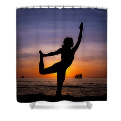 Sunset Yoga Shower Curtain by Scott Meyer