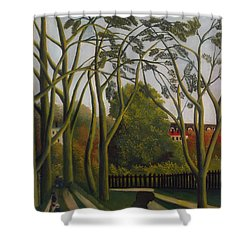 Shower Curtain featuring the painting The Banks Of The Bievre Near Bicetre by Henri Rousseau