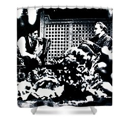 Shower Curtain featuring the painting The Godfather by Luis Ludzska