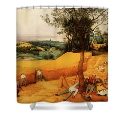 Shower Curtain featuring the painting The Harvesters by Pieter Bruegel The Elder