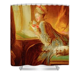 Shower Curtain featuring the painting The Love Letter by Jean Honore Fragonard