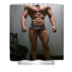 The Wrestler Shower Curtain by Jake Hartz