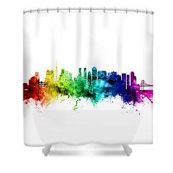 Tokyo Japan Skyline Shower Curtain by Michael Tompsett
