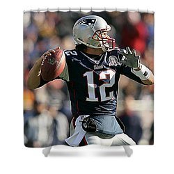 Shower Curtain featuring the mixed media Tom Brady by Marvin Blaine