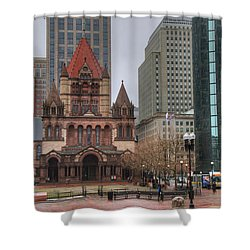 Shower Curtain featuring the photograph Trinity Church - Copley Square - Boston by Joann Vitali