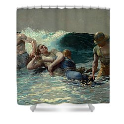 Shower Curtain featuring the painting Undertow by Winslow Homer