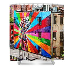 V - J Day Mural By Eduardo Kobra Shower Curtain