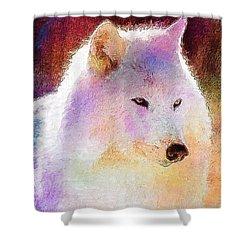 Wolf Shower Curtain by Elena Kosvincheva