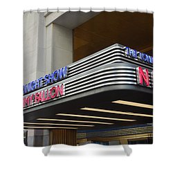 Shower Curtain featuring the photograph 30 Rock Jimmy Fallon Marquee by Melinda Saminski