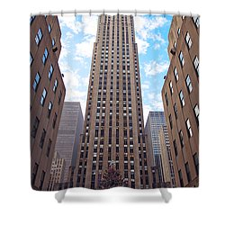 Shower Curtain featuring the photograph 30 Rock by Mitch Cat