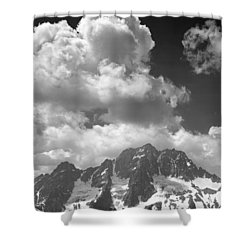 304638 Clouds Over Mt. Stuart Bw Shower Curtain