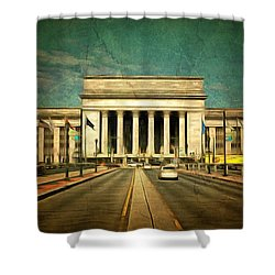 Shower Curtain featuring the mixed media 30th Street Station Traffic by Trish Tritz