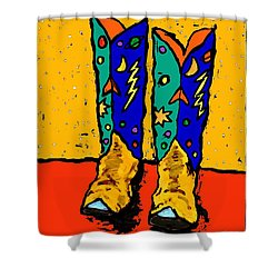30x36  Boots On Yellow Shower Curtain