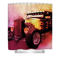 31 Model A Ford Fiery Watercolour Shower Curtain