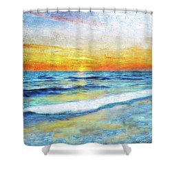 Seascape Sunrise Impressionist Digital Painting 31a Shower Curtain