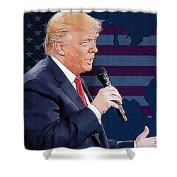 Donald Trump Shower Curtain by Elena Kosvincheva