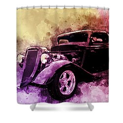 34 Ford Three Window Coupe Pen And Ink Watercolour Shower Curtain