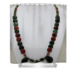 3505 Fancy Jasper And Unakite Necklace Shower Curtain by Teresa Mucha