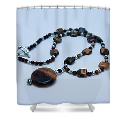 3516 Tiger Eye Necklace  Shower Curtain by Teresa Mucha