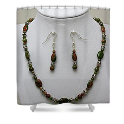 3525 Unakite Necklace And Earring Set Shower Curtain by Teresa Mucha