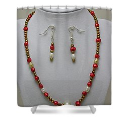3539 Pearl Necklace And Earring Set Shower Curtain by Teresa Mucha