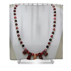 3541 Rhodonite And Jasper Necklace Shower Curtain by Teresa Mucha