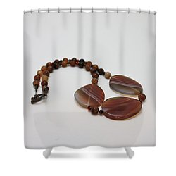 3543 Coffee Vein Agate Necklace Shower Curtain by Teresa Mucha
