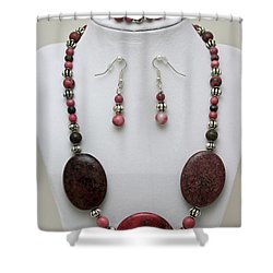 3544 Rhodonite Necklace Bracelet And Earring Set Shower Curtain by Teresa Mucha