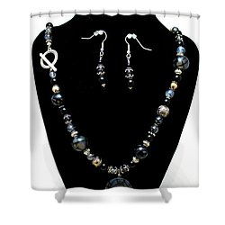 3545 Black Cracked Agate Necklace And Earring Set Shower Curtain by Teresa Mucha