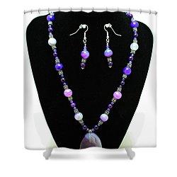 3547 Purple Veined Agate Set Shower Curtain by Teresa Mucha