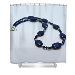 3553 Lapis Lazuli Necklace And Earrings Set Shower Curtain by Teresa Mucha