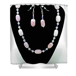 3560 Rose Quartz Necklace And Earrings Set Shower Curtain by Teresa Mucha