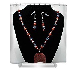3578 Jasper And Agate Long Necklace And Earrings Set Shower Curtain by Teresa Mucha