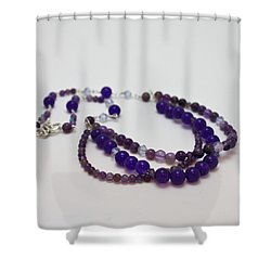3580 Amethyst And Adventurine Necklace Shower Curtain by Teresa Mucha