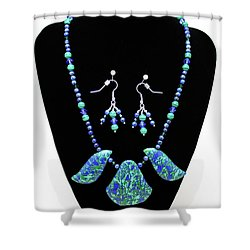 3582 Lapis Lazuli Malachite Necklace And Earring Set Shower Curtain by Teresa Mucha