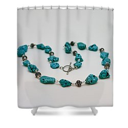 3599 Turquoise Necklace Shower Curtain by Teresa Mucha