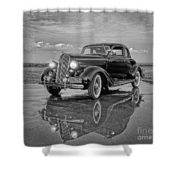 36 Plymouth Reflections Pencil Sketch Shower Curtain
