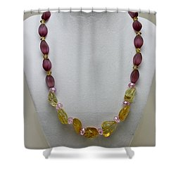3603 Citrine And Amethyst Cats Eye Necklace Shower Curtain by Teresa Mucha