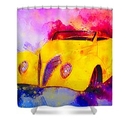 37 Ford Roadster Yellow Watercolour Shower Curtain