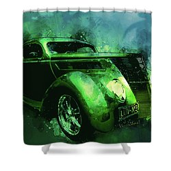 37 Ford Street Rod Luv Me Green Meanie Shower Curtain
